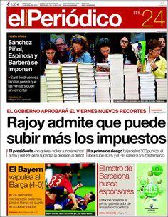 Los Titulares y Portadas de Noticias Destacadas Españolas del 24 de Abril de 2013 del Diario El Periódico ¿Que le parecio esta Portada de este Diario Español?
