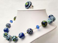 * Tiefsee* Kette Polymer Clay, fimo, cernit, premo, necklace,  Perlen Des... von filigran-Design auf DaWanda.com