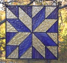 Stained Glass Quilt Block Suncatcher Panel  8 Inch