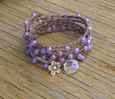 Hyacinth crocheted wrap bracelet earthy fun comfortable di Sydnejo, $27.00