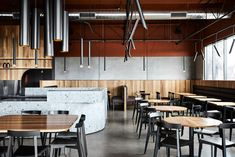 Mr Robertson by Maria Danos Architecture is a buzzing suburban café within the Nunawading Industrial Park, catering to a multitude of demographics. Cafe Interior, Interior Design, Central Bar, Melbourne Cafe, Melbourne Central, Steel Trusses, Industrial Park, Brick Facade, Terrazzo Flooring