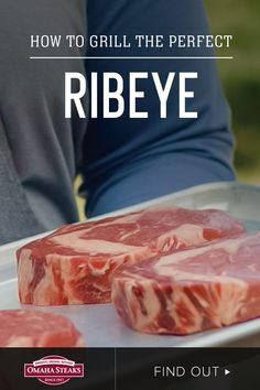 How to grill the perfect ribeye steak in just five simple steps on a gas or charcoal grill (thaw, preheat grill, season, grill, and rest). The well-marbled ribeye is perfect for summer grilling with its rich, buttery and juicy texture. Cook perfect medium-rare steaks - or your desired doneness and temperature - with our simple grill-side video tutorial and ribeye grilling guide. Perfect Medium Rare Steak, Perfect Steak, Rib Eye Recipes, Omaha Steaks, Grilling Sides, How To Cook Steak, Charcoal Grill, Cooking Tips, Bbq