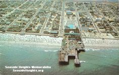 This is an Aerial View of The Casino Pier Seaside Heights NJ late 1950s. LIKE–>http://www.facebook.com/seasideheightsorg WEB–>http://seasideheights.org/ Email this card to a friend!