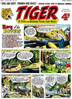 Cover for Tiger (IPC, 1954 series) Picture Story, My Youth, Daredevil, Childhood Memories, Comic Art, British, Marvel, Football, Magazine