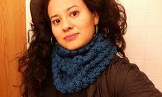 Bufanda en crochet circular en punto bodoque
