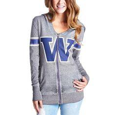 Washington Huskies Womens Tunic Full Zip Hoodie - Ash