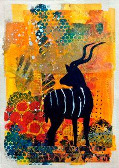 """{AVAILABLE} Mixed media collage painting: """"Kudu Sunrise"""" #originalart #artforsale #jeanettehouse"""