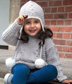 Детский пуловер и шапка с ушками