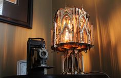 The Cathedral, Gothic Style Architecture, Wood Sculpture Lamp (Cargoh.com)