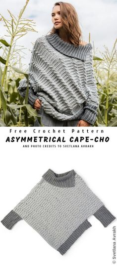 Asymmetrical Cape-Cho Sweater – Knitting patterns, knitting designs, knitting for beginners. Crochet Cardigan, Crochet Shawl, Crochet Cape, Crochet Pullover Pattern, Shawl Cardigan, Easy Crochet Patterns, Knitting Patterns Free, Easy Patterns, Free Pattern