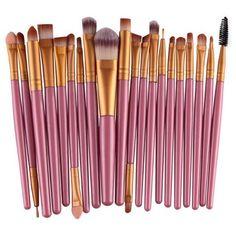 20Pcs Pink Handle Wool Brush Set Facial Makeup Power Blush brushes ($7.19) ❤ liked on Polyvore featuring beauty products, makeup, makeup tools, makeup brushes, set of makeup brushes, blush brush, set of brushes and blush makeup brush