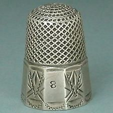 Antique Sterling Silver Panel Band Thimble * American * Circa 1880s