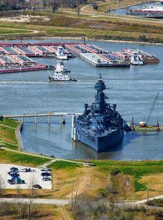 Battleship of Texas. View from San Jacinto Monument. La Porte, Texas.