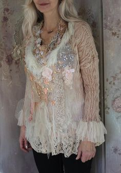 Marshmallow knit, ornate boho lacy knit, bohemian romantic, antique laces, altered couture, embroidered details Redo Clothes, Clothes Crafts, Antique Lace, Vintage Lace, Boho Outfits, Pretty Outfits, Boho Fashion, Vintage Fashion, Fairy Clothes