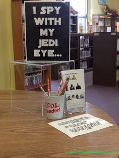 Genius idea for star wars day scavenger hunt. hide characters with letters around the library, cre