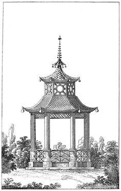 *The Graphics Fairy LLC*: Antique Garden Graphic - Beautiful Pagoda Gazebo
