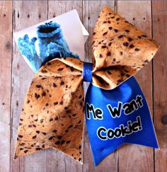 Food: Cookie Monster Cheer Bow, Soccer Bow or Softball Bow