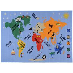 @Overstock.com - Add a fun and educational touch to your kid's room with this Kids Our World Blue Area Rug. This rug features a map of the world and has non-slip rubber backing to keep the rug in place.http://www.overstock.com/Home-Garden/Printed-Kids-Our-World-Blue-Area-Rug-33-x-47/7617392/product.html?CID=214117 $23.49@Rebekah Garrison This might be great for Mission friends room.