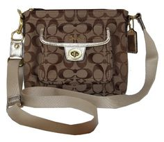 "$146.99-$148.00 Handbags  Authentic Coach Signature Zip Front Pocket Swing Pack Cross Body Bag 45026 Khaki Gold - Measures approx 8 1/2"" (L) x 7"" (H) http://www.amazon.com/dp/B005HIGO1O/?tag=pin0ce-20"