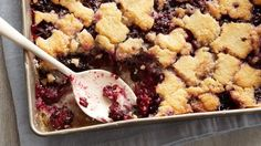 """A recipe with soul, this blackberry cobbler won the grand prize in the """"Betty Crocker Recipes from the Soul"""" recipe contest! Easy Blackberry Cobbler, Blackberry Recipes, Fruit Cobbler, Blueberry Cobbler, Nectarine Cobbler, Blackberry Dumplings, Blackberry Dessert, Raspberry Cobbler, Blueberry Crisp"""