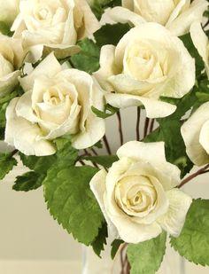 ivory white paper roses