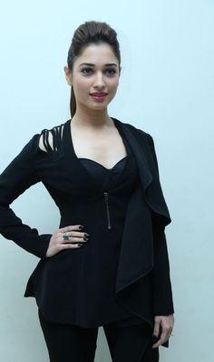 Tamanna Stills In Black Dress At Bengal Tiger Audio Launch