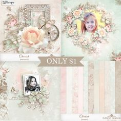 New Cherish Collection by Indigo Designs - each pack JUST $1, until February 23. This romantic collection is filled with lace, roses, and vintage elements with a shabby, Parisian flair. Pastel peach, pink and mint are combined with tea-stained stamps and borders for a soft, watercolor effect. http://www.pickleberrypop.com/shop/manufacturers.php?manufacturerid=83 Buy collection 6 pack for JUST $6 and get the beautiful Accent Overlays FREE!