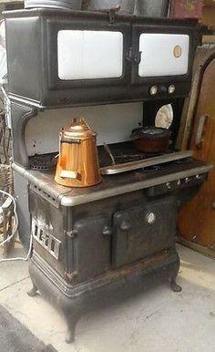 Amazing Antique Cast Iron Glenwood Gold Medal Stove Dual Gas Wood Coal Porcelain