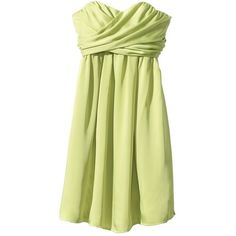 Women's Strapless Wrap-Front Chiffon Dress - Assorted Colors ($35) ❤ liked on Polyvore featuring dresses, vestidos, guacamole green, sleeved dresses, sweetheart dress, sheer sleeve dress, sheer chiffon dress and beige chiffon dress