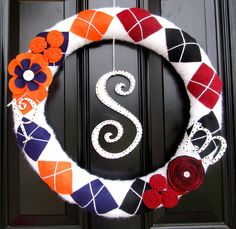 House Divided Clemson/Carolina Wreath. $55.00, via Etsy. I could do this for us!