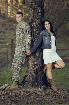 Army love! I need to do this, name carved in tree though!
