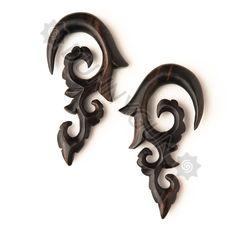 00G Pair Black Dogwood Tibetan Cloud Lily Spiral Gauges Plugs -Wood Organic Hand Carved Body Piercing Jewelry 00 gauge Earrings. $24.99, via Etsy.