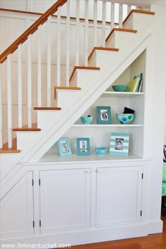 Creative Ways To Use Space Under Stairs Full Creative Ways To Use The Space Under Your Stairs Home Creative Ways To Use Staircase Space - prlinkdirectory Stair Shelves, Staircase Storage, Basement Storage, Under Stair Storage, Hallway Storage, Bookshelves, Bookcase, Space Under Stairs, Cabinet Under Stairs