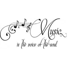 Music Is The Voice Of The Soul Quote Bedroom Vinyl Wall Decal, 9 inch x 20 inch, Black