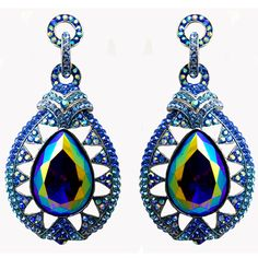 Butler & Wilson Crystal Teardrop with Circle Top Earrings featuring Swarovski crystal, they fasten with a post and push clasp.