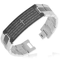 Stainless Steel Black Silver-Tone Religious Cross English Prayer Mens Bracelet. Gender: Male. Material: Stainless Steel. Length: 8.00in. Width: 0.60in. Corrected Spelling!.