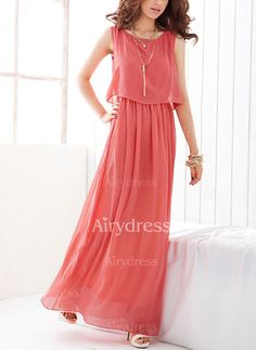 af9fe0460b Chiffon Solid Sleeveless Maxi Casual Dresses (1039757)