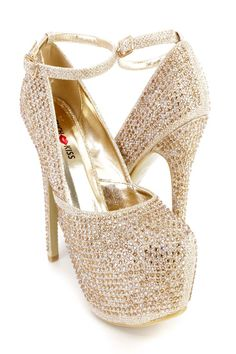 Doll up any outfit with these sexy platform high heels! The features include a shimmer tinsel fabric upper with rhinestones throughout, ankle strap with a side buckle closure, stitched almond shaped closed toe, scoop vamp, smooth lining, and cushioned footbed. Approximately 5 3/4 inch heels and 2 inch covered platforms.