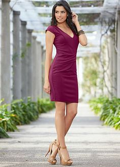 Artfully-lined and delicate waist detail cap sleeve dress in wine Venus.com