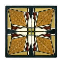 This tile is adapted from the art glass skylight located in the Martin House Bursars Office. The art glass of this house ranks among Wrights finest.