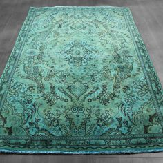 5x8 #Overdyed Persian Tabriz Design #Teal Blue Green #vintage #Rug woh-1352