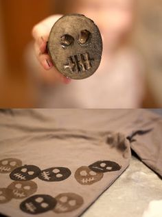 Potato stamping never fails as a DIY project for little monsters! This blogger shows off all shapes and sizes, but my fave is this skull design.