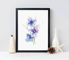 Purple Art Watercolor Painting Flowers Art Print Iris Gift For Her - Iris 1