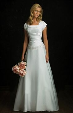 Satin A-line Square Neckline White Wedding Gown Wedding Gowns - OuterInner.com