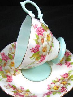 4:00 Tea...Royal Albert...Orange Blossom Pattern in Aquamarine