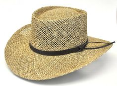 Stetson Seagrass Gambler - Bill the Hatter Made of twisted seagrass straw Breathable and lightweight, open weave straw 4″ Crown, 3″ Brim Elasticized sweatband for easy and comfortable fit www.billthehatter.com
