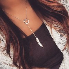 Dainty Feather Necklace | Summer Fashion 2015 www.psiloveyoumoreboutique.com