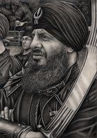 This is another drawing in my series on 'Sikhs', and is about the Sikh martial arts of 'Gatka'. Although its not actually showing 'Gatka' in practice, it is a drawing about one of the UK's main instructor, 'Herman Singh Johal'.  | Sikhpoint.com