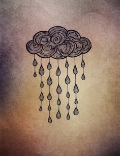 Rain cloud doodle tattoo, Rain Art Print by Nataryclyrehs | Society6