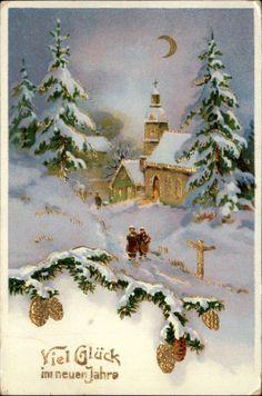German Holiday Greeting Church Gilt Embossed Greeting c1910 Postcard
